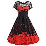 GOTD Womens Vintage Lace Hollow Rose Flower Short Sleeve Dress Tunic Wedding Party Summer Plus Size (M, Red)