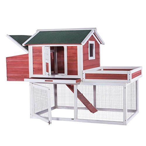 "idealchoiceproduct 63"" Chicken Coop Hen Rabbit Hutch Wooden Bunny Pet Cage Outdoor Run for Small Animals (Overall Dimensions: 63"