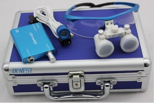 3.5x 420mm Surgical Binocular Loupes HeadLight Blue Aluminum - Dental Binocular Loupes