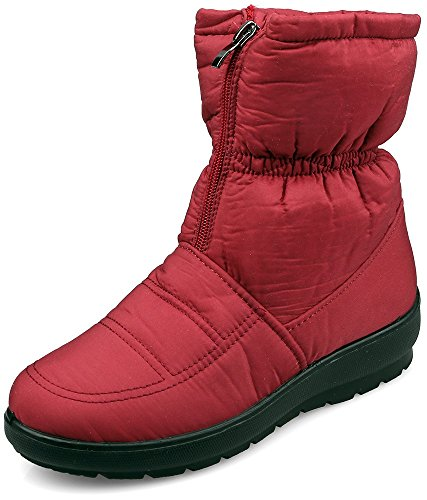 MOSHU Women's Faux Fur Winter Snow Boots Zipper Front Waterproof Antiskid Ankle Booties Red