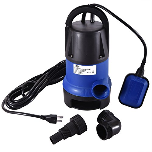 JAXPETY 1/2 HP Submersible Sump Pump 400W Dirty Clean Water Pump 2000GPH for Swimming Pool Pond Heavy Duty Water Transfer (Blue)