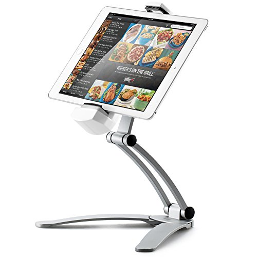 Kitchen Tablet Mount Stand, iKross 2-in-1 Kitchen Wall / CounterTop Desktop White Mount Holder Stand For 7 to 13 Inch Tablet fits 2017 iPad Pro 12.9 / 9.7 / Air / Mini, Surface Pro, Nintendo Switch