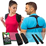 Posture Corrector For Men & Women - Adjustable Clavicle Back Brace Support for Upper Back Correction + Extension Straps, Pads and E-book by Mbs