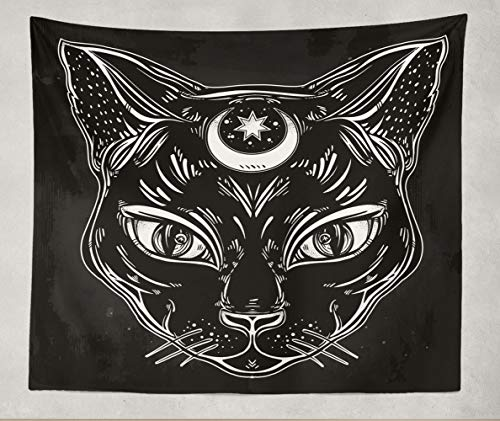 Darkchocl Home Decor Tapestry,Black Cat Head Portrait Moon Ideal Halloween Tattoo Art,60 X 80 inch Tapestry Polyester Fabric Print Wall Art for Dorm Room Living Room Bedroom
