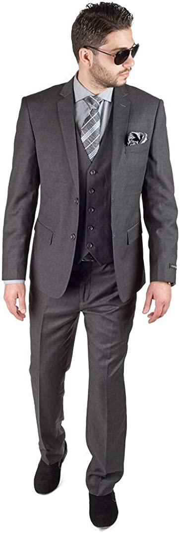 Slim Fit 3 Piece Vested Solid Dark Charcoal Grey Suit 2 Button Notch Lapel AZAR