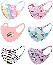 6 Pack Unisex Children Dust Protection, Breathable, Washable and Reusable Face Masks, Boys & Girls (6 PACK