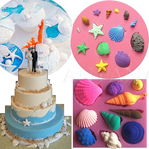Anyana mini Sea Shell Conch scallop starfish silicone mould beach cake Fondant gum paste mold for Sugar paste birthday party cupcake decorating topper decoration sugarcraft decor set of 2