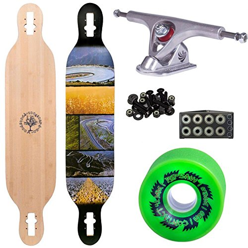 "Woodstock Mojo 41.5"" Bamboo Longboard Complete with Paris Raw Trucks Abec 9 Bearings and Ripsaw Wheels"