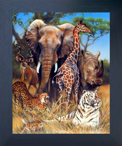 Zoo Exotic Collage (Giraffe, Rhino, Elephant and Tiger) African Safari Animal Wall Decor Framed Art Print Picture