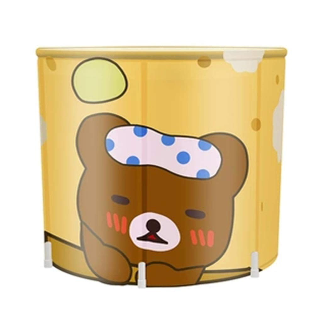 Folding bathtub Adult Household Full Body Folding Tub Thickening Bath Barrel Brown Children's Tub Ladies with Lid Steaming Bucket Gift (Color : Brown, Size : 7065cm)