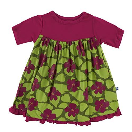 Print Classic Short Sleeve Swing Dress (Pesto Hibiscus - S-6/8)