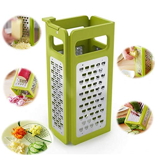 Vistaric Vegetable peeler tool 4 In 1 Folding Box Grater Device Shredded Cheese Slicer Flat Coarse Fine Ribbon Etched Blades Easy Storage