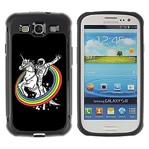 Hybrid Anti-Shock Defend Case for Samsung Galaxy S3 / Astronaut & Unicorn Rainbows