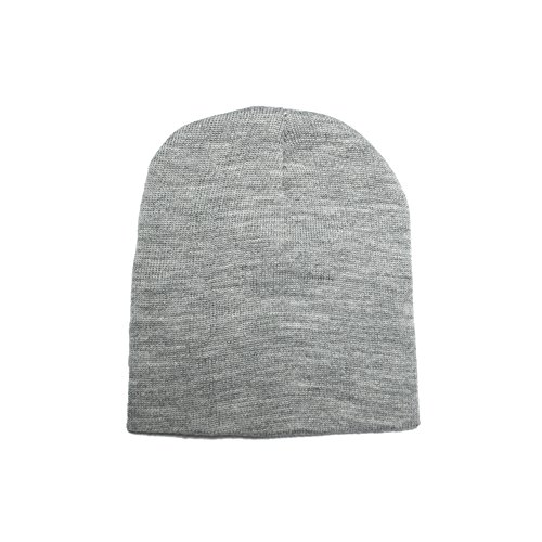 Opromo (Price/96 Pcs) 8.5'' H Heavyweight Short Beanie Cap, Many Colors Available-Grey by Opromo