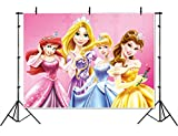Vinyl Disney Princess Background 7x5 Pink Baby Shower Backdrop for Girl Seamless Photography Background Princess Birthday Banner Customized Name