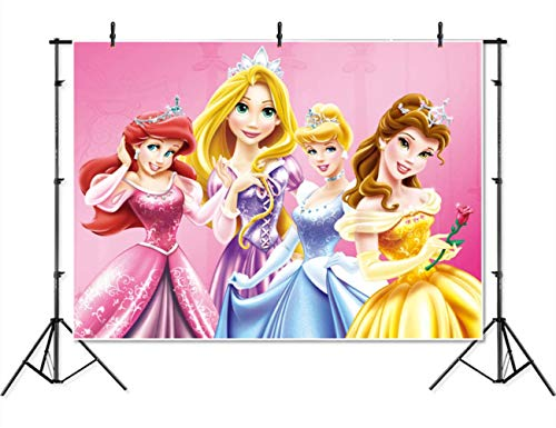Vinyl Disney Princess Background 7x5 Pink Baby Shower Backdrop for Girl Seamless Photography Background Princess Birthday Banner Customized Name -