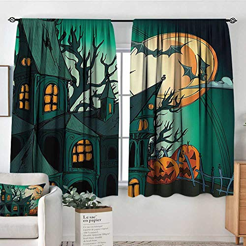 All of better Halloween Blackout Window Curtain Haunted Medieval Cartoon Style Bats in Twilight Gothic Fiction Spooky Art Print Bedroom Blackout Curtains 63