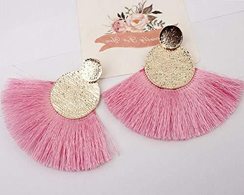 Wausa Boho Hoop Fringe Drop Earrings Circle Fan Shaped Straw Tassel Earrings | Model ERRNGS - 7096 |