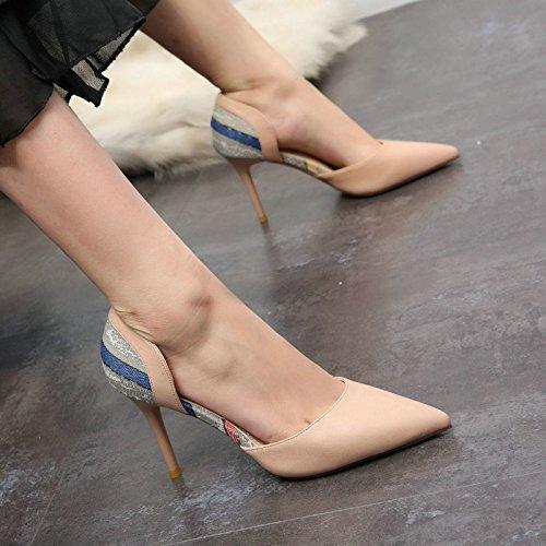 stiletto temperamento lavoro Moda estiva YMFIE tacco scarpe punta donna alto moda sexy da singole hollow in C vernice cuoio scarpe da 88tpHqw