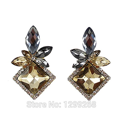 GDSTAR Fashion Brincos Vintage Earrings Champagne Color Earrings Rhinestone Drop Earrings