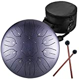 12 Inch Steel Tongue Drum 11 Notes Highest Quality C Major Handpan Hang Drum Instrument Padded Travel Bag and Mallets Included Yoga Meditation Music Therapy Lotus Tongue Silver