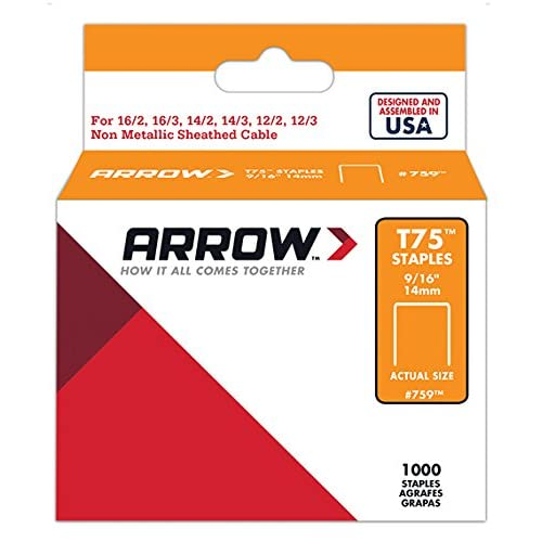 Arrow Fastener 759 Genuine 9/16-Inch 14mm Heavy-Duty Staples for T75, 1,000-Pack