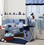[Blue Mickey Mouse] Crib Bedding Set Bedding Collection (4PC Bedding Set + extra 1 Bumper)