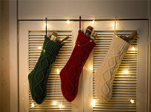 Sexybody Knitted Cable Christmas Decoration Socks Hanging Stockings Decor,Set of 3 by Sexybody (Image #1)