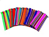 Fiesta Napkins Mexican Cloth, Bulk Set of 6. Assorted Colors, Fiesta Decorations, Cinco de Mayo Party Supplies Serape Table Decorations Boho Chic Linens, Hippie Tribal Kitchen, Aztec Home Decor Coco