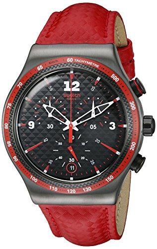 Swatch Men's YVM401 Irony Analog Display Swiss Quartz Red (Chrono Swatch Watch)