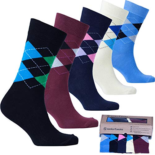 Socks n Socks - Men's 5-pair Argyle Luxury Turkish Cotton Dress Socks Gift Box