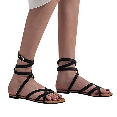 b1e0bc5e3817 Cewtolkar Women Sandals Summer Flat Shoes Party Sandals Beach Shoes Cross  Strap Sandals Peep Toe Shoes