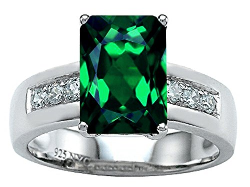 Sterling Silver 7x5 Emerald - 9