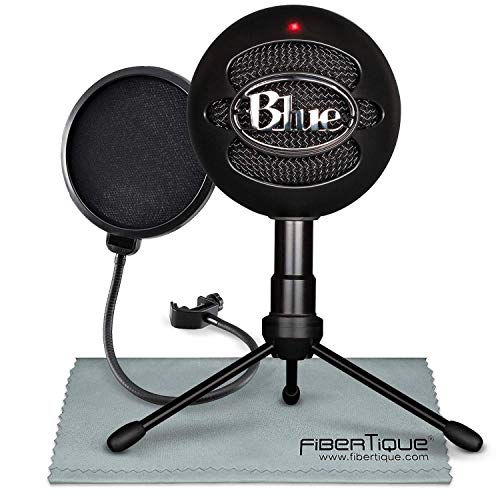 Blue Snowball iCE USB Cardioid Condenser Microphone (Black) with Pop Filter Accessory Pack (Snowball Blue Mic)