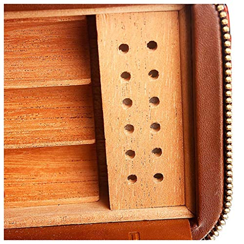 HYZXJHE Cigar Box, Cedar Wood Lining Humidifier Easy to Carry and Can Accommodate 6 Leather Cigar Box by HYZXJHE (Image #2)