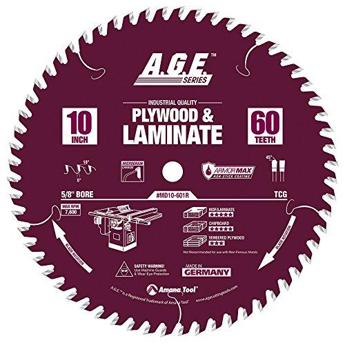 e Tipped Plywood & Laminate Armormax-Coated 10 Inch D x 60T, TCG, 6 Deg, 5/8 Bore Circular Saw Blade ()