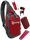 "Bastex On the ""GO"" Bundle, Red Shoulder Travel Sports Backpack. With LED Mini Flashlight, External Power Bank 6000mAH Battery Charging Pack and 3X Long Stylus, Wired Ear Bud Headphones with Mic."