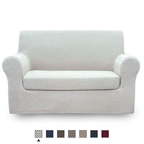 NICEEC Loveseat Slipcover Ivory Loveseat Full Cover Two-Tone 2 Piece Easy Fitted Sofa Couch Cover Universal High Stretch Durable Furniture Protector Love Seat Country Style (2 Seater Ivory) (Style Country Loveseats)