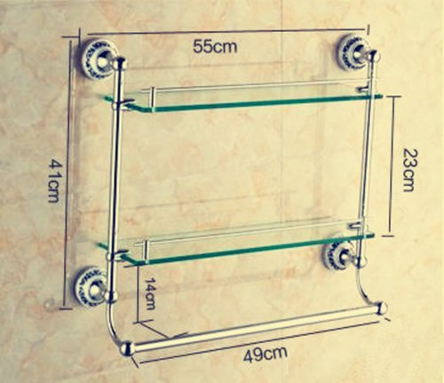 TACCY Bathroom Glass Shelf with Two Gold Finish Brackets Brass made Toughened Safety Mounted Glass shelf #MK01A