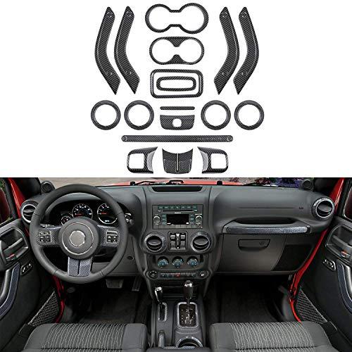 - 18PCS Full Set Interior Decoration Carbon Fibre Trim Kit - Door Handle & Cup Cover, Steering Wheel, Center Console, Gear Shift Knobs & Air Outlet Trim for 2011-2018 Jeep Wrangler JK JKU 2-door&4-door