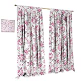Emoji Bedding and Curtains Anniutwo Shabby Chic Window Curtain Drape Pink Roses with Grey Leaves Garden Bedding Plants Spring Blossoms Decorative Curtains for Living Room W120 x L84 Pale Pink White Grey