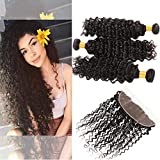 Bleaching Hair Makes It Thicker - Huarisi Peruvian Hair Bundles Deep Wave with Frontal 8a Unprocessed Human Hair Extensions Deep Curly Weave with Lace Frontal 13 x 4 Closure Free Part Natural Color 12 14 16 +10 Inch