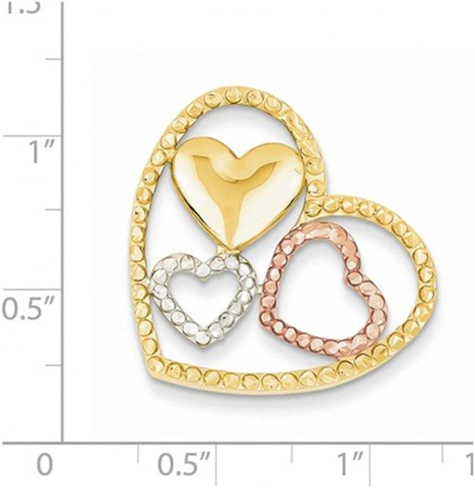 14K Tri-color Gold Yellow Rhodium Plated Heart Chain Slide Pendant