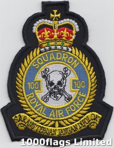 No 100 Squadron Royal Air Force RAF Blue Embroidered Badge Patch