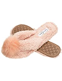 Plush Cozy Faux Shearling Thong Slide On Womens Slippers