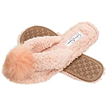 Jessica Simpson Plush Cozy Faux Shearling Thong Slide On Womens Slippers
