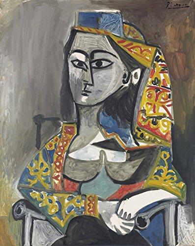 Au Costumes (Pablo Picasso - Femme au costume turc dans un fauteuil, Canvas Art Print, Size 20x24, Canvas Print Rolled in a Tube)