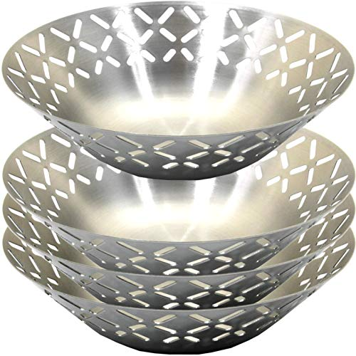 Maro Megastore (Pack of 4) 7.9-Inch x 2.4-Inch (H) 304 Stainless Steel Fruit Bowl Basket Stand Holder Wire Design Modern Decorative Style Holiday Wedding Party Bread Vegetable Food Ts-141