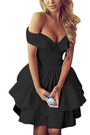 Off Shoulder Short Prom Gowns Open Back V-Neck Satin A-line 2019 Homecoming fa481ab8d