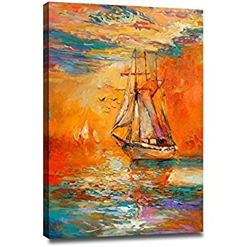DongLin Art Golden Sailboat Wall Art Modern Abstract Painting Wall Decor  Landscape Paintings On Canvas